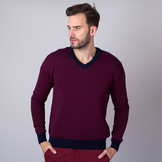 Men's jumper with dark blue trim and fine pattern 11146, Willsoor