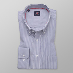 Men's classic shirt with dark blue striped pattern 11239