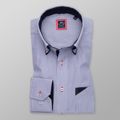 Men's Slim Fit shirt with striped pattern a with contrasting elements 11251