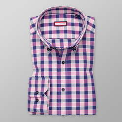 Men's Slim Fit shirt with dark blue-pink check pattern 11253