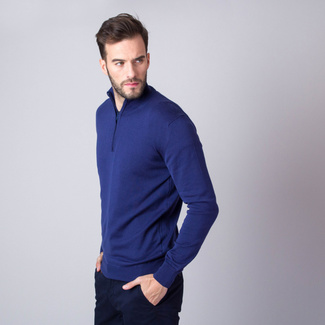 Men's jumper in dark blue with zipper fastening 11255, Willsoor