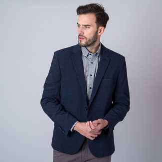 Men's suit jacket in dark blue color with check pattern 11282, Willsoor