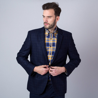 Men's suit jacket in dark blue color with check pattern 11283, Willsoor