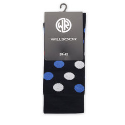 Men's socks in dark blue with pattern 11292, Willsoor