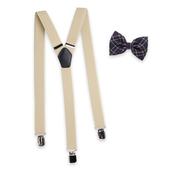 Men's braces in beige and check bow tie 11301, Willsoor