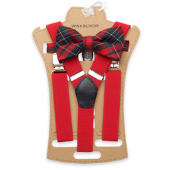 Men's braces in red and check bow tie 11304, Willsoor