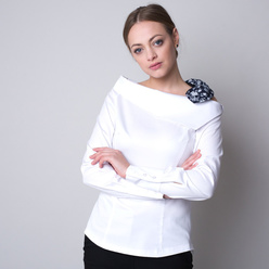 Women's shirt in white with a floral bow 11324, Willsoor