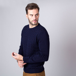 Men's jumper in dark blue with braiding 11326, Willsoor