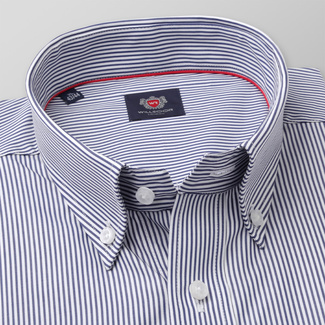 Men's classic shirt with dark blue striped pattern 11333, Willsoor