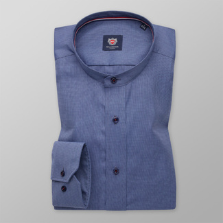 Men's Slim Fit shirt in blue with fine pattern 11343