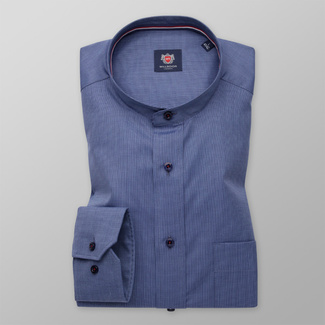 Men's classic shirt in blue color with fine pattern 11344, Willsoor