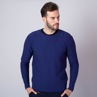 Men's pullover in blue color with quilting 11352, Willsoor