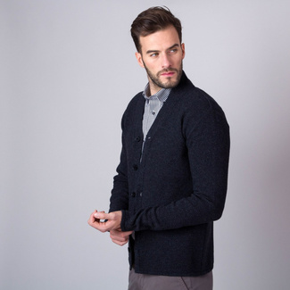 Men's cardigan in dark grey color 11364, Willsoor