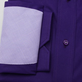 Classic men's shirt in dark purple with patterned elements 11368, Willsoor