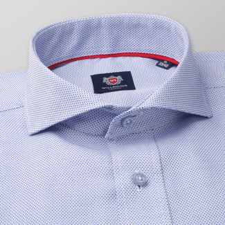 Men's Slim Fit shirt in pale blue with fine pattern 11373, Willsoor