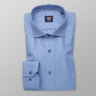 Men's Slim Fit shirt in blue color with fine pattern 11380, Willsoor
