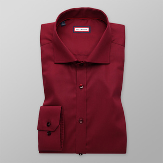 Men's Extra Slim Fit shirt in claret color with smooth pattern 11392, Willsoor