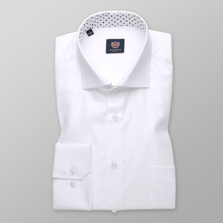 Classic men's shirt white with smooth pattern 11398, Willsoor