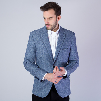 Men's suit jacket with fine dark blue-white pattern 11533, Willsoor