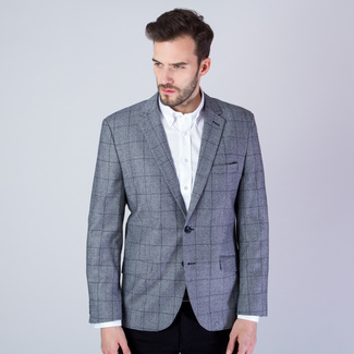 Men suit jacket in grey color with checked pattern 11534, Willsoor