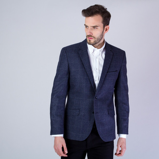 Men's suit jacket in dark blue with checked pattern 11535, Willsoor