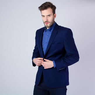 Men's suit jacket in dark blue color with fine pattern 11536, Willsoor