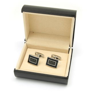 Cufflinks silver-black 11538, Willsoor
