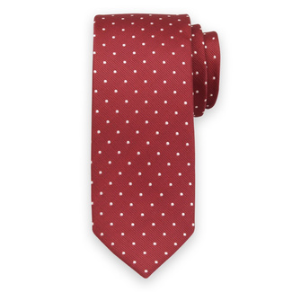 Classic tie in red color with white pattern 11547, Willsoor