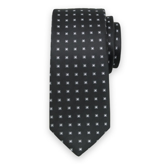 Classic tie with grey-white check pattern 11563, Willsoor