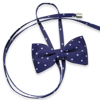Women's bow tie in dark blue color with white pattern 11625, Willsoor
