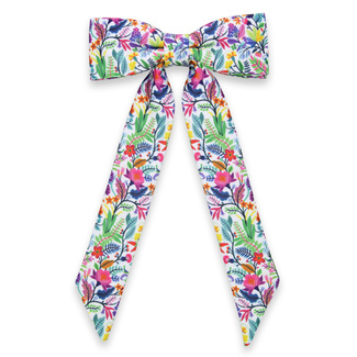 Women's bow tie in white color with colorful pattern 11632, Willsoor