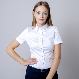 Women's shirt in white with light blue contrast elements 11733