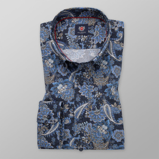Men's slim fit shirt in blue color with flower pattern 11741