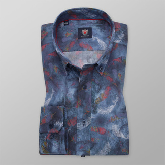 Men's slim fit shirt in blue color with feather pattern 11743