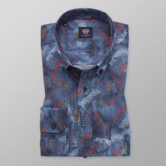 Men's classic shirt in blue color with feather pattern 11744