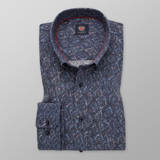 Men's classic fit shirt in dark blue color with colorful pattern 11746