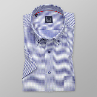 Men's Slim Fit shirt with blue-white polka dot pattern 11768, Willsoor