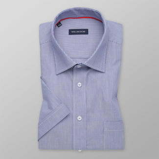 Men's classic shirt in blue with white striped pattern 11771, Willsoor