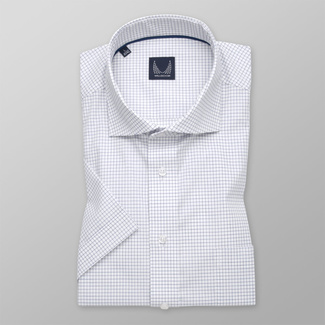 Men's Slim Fit shirt in white with dark blue pattern 11772, Willsoor