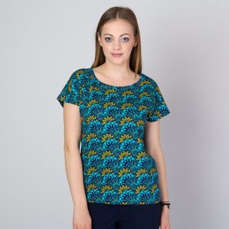 Women's t-shirt in turquoise color with floral pattern 11786, Willsoor