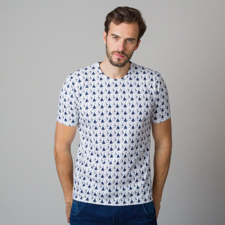 Men's t-shirt with sailing boats and anchors print 11808, Willsoor