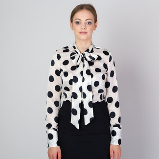 Women's shirt with long bow and black spotted pattern 11814