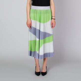 Pleated midi skirt with grey and green stripes 11818, Willsoor