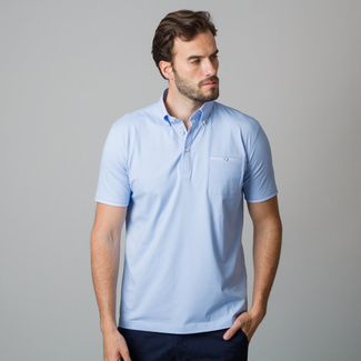Men's polo shirt in pale blue color 11819, Willsoor