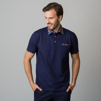 Men's polo shirt in dark blue color with piping 11822, Willsoor