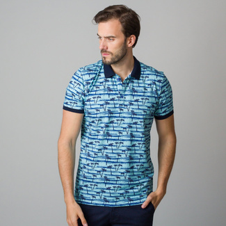 Men's polo shirt in light blue with black palm trees print 11838, Willsoor