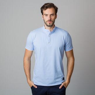 Men's polo shirt in light blue with white piping 11847, Willsoor