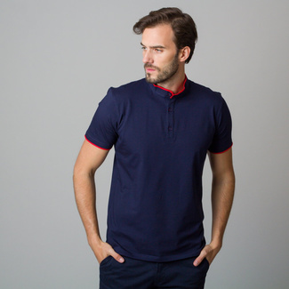 Men's polo shirt in dark blue color with red piping. 11850, Willsoor