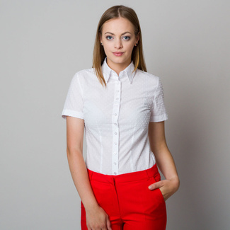 Women's shirt in white color with fine raised pattern 11864, Willsoor