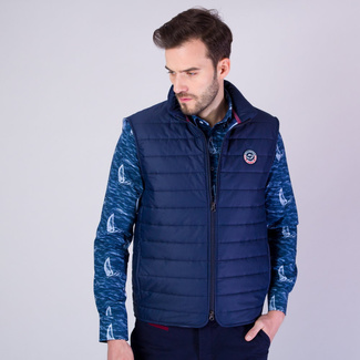 Men's quilted vest in dark blue color with shiny surface. 11867, Willsoor